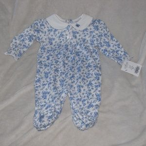 Little Me Boutique French Blue Toile White Footie